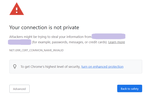 certificate error chrome
